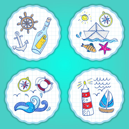 vintage riffle: Set of hand painted doodle sea elements.