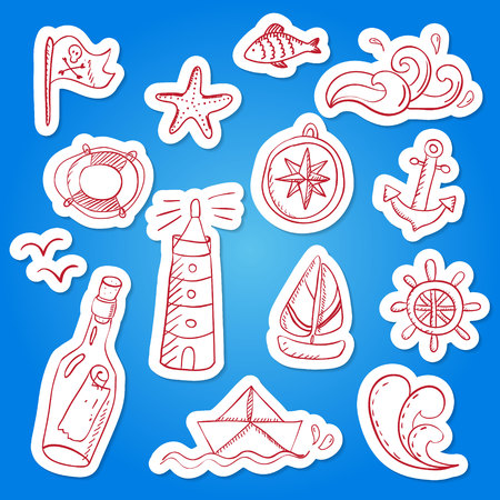 Set of hand painted doodle sea elements.