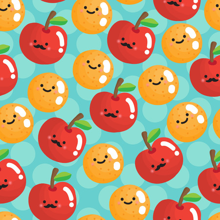 apples and oranges: Seamless pattern with smiling apples and oranges.