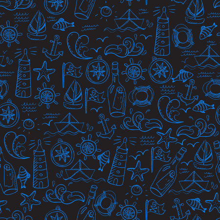 vintage riffle: Seamless pattern with doodle sea elements. Illustration
