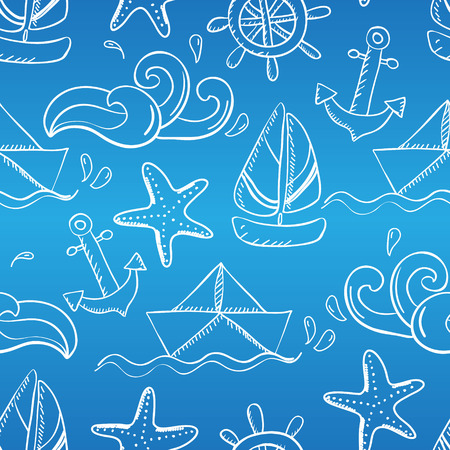 lop: Seamless pattern with doodle sea elements. Illustration