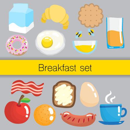 mead: Set of breakfast food.