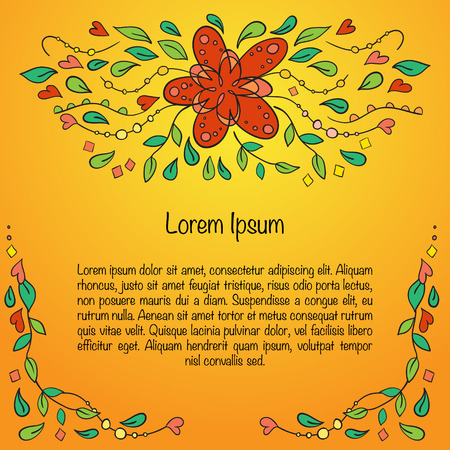 Greeting card with convoluted floral ornament. Illustration