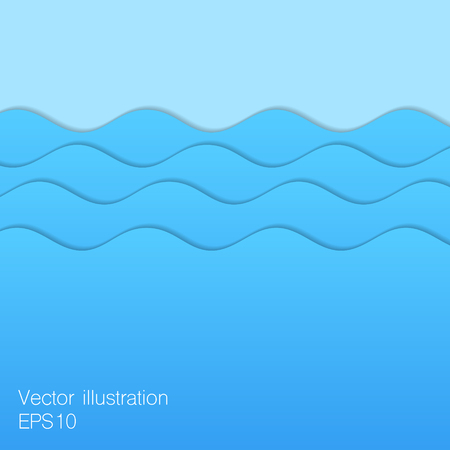 vintage riffle: Paper blue waves illustration.