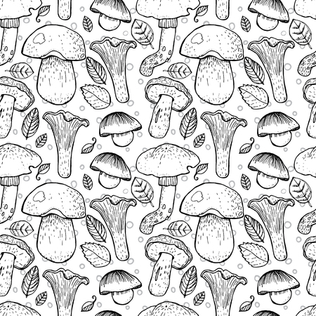 grebe: Seamless pattern with different mushrooms.