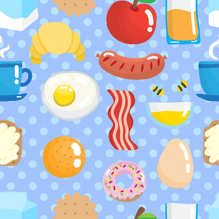 mead: Seamless pattern with breakfast food.