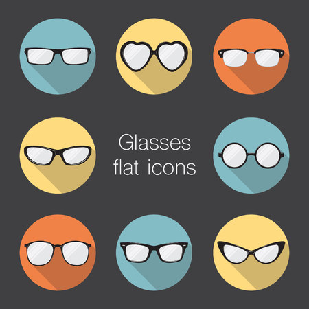 eye wear: Set of glasses icons. Illustration