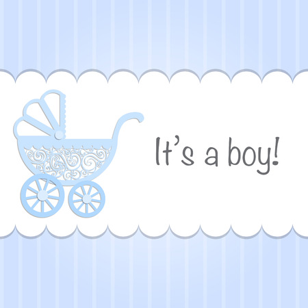 Paper baby pram with text Its a boy! illustration.