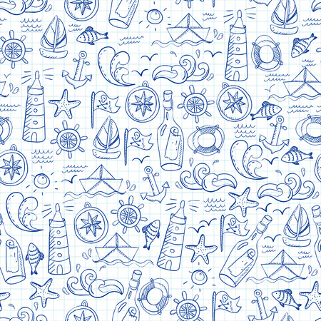 curvature: Seamless pattern with doodle sea elements. Illustration