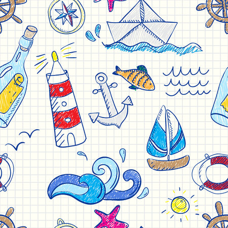 vintage riffle: Seamless pattern with doodle sea elements. Vector illustration Illustration