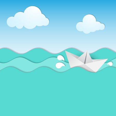 lop: Paper waves abd origami boat. Vector illuastration.