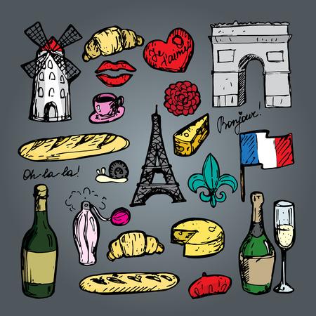 triumphal: French paris set of sketch elements.