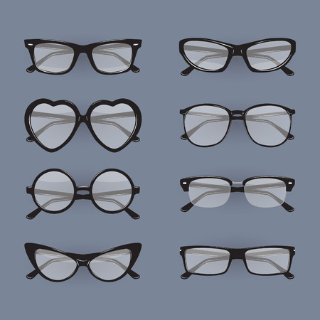 spectacle frame: Set of different glasses. Illustration