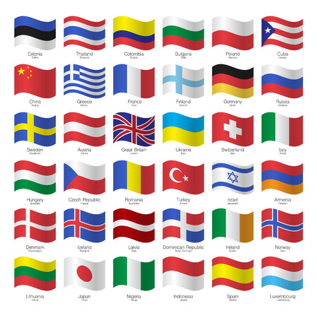 capitals: World flags collection. Flags, countries and capitals.