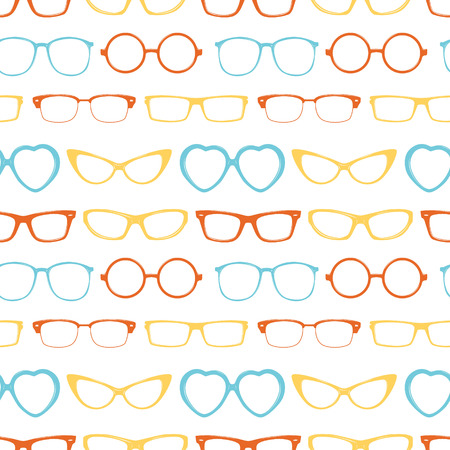 Seamless pattern with different glasses.