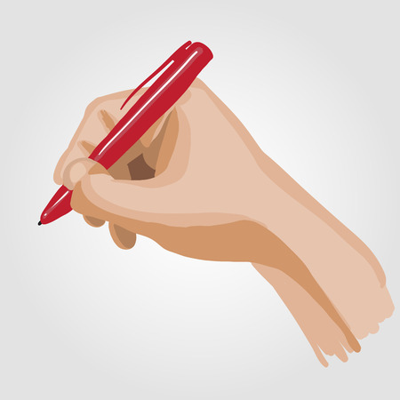handbreadth: Palm with a pen. Illustration