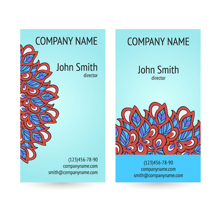 Set of business cards with ethnic circle ornament.