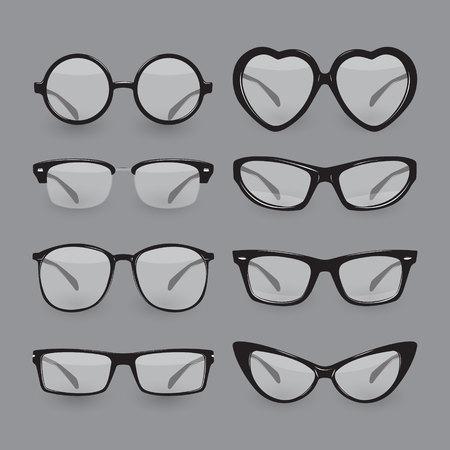 diopter: Set of different glasses. Illustration