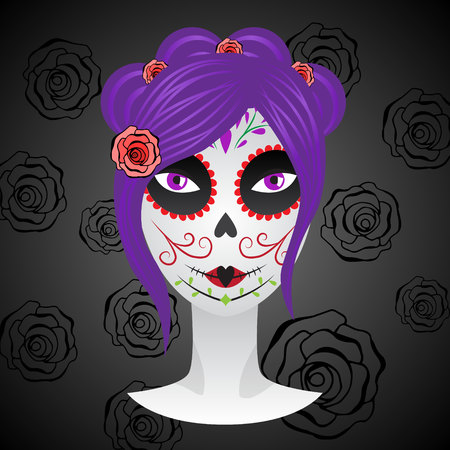 dead girl: Girl with make up for day of dead.