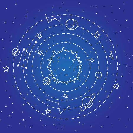 interstellar: Seamless vector hipster illustration of interstellar solar system.