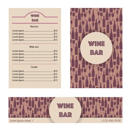 bouteille de vin: menu Création pour bar à vin. Vector illustration.