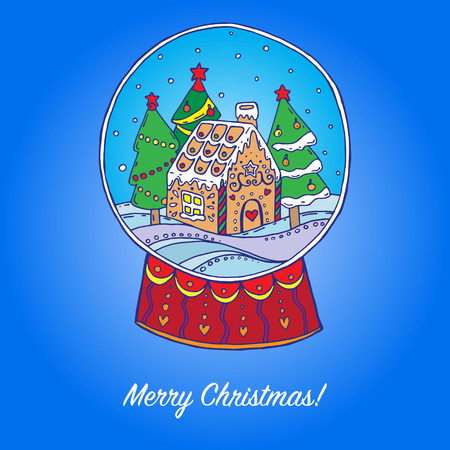 snowglobe: Snow globe with christmas trees and gingerbread house inside. Vector illustration Illustration
