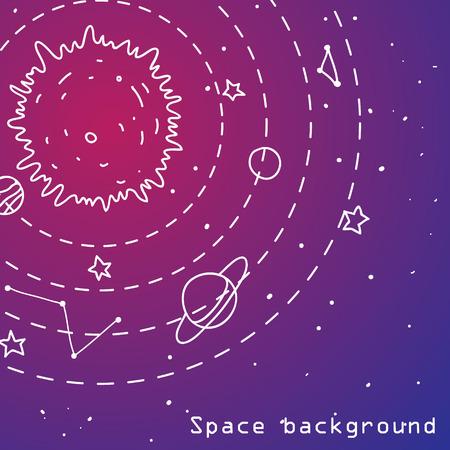Seamless vector hipster illustration of interstellar solar system.