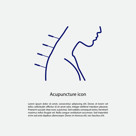 natural medicine: Acupuncture icon with place for text. Vector illustration