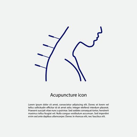 medicina tradicional china: icono de la acupuntura con el lugar de texto. ilustración vectorial Vectores