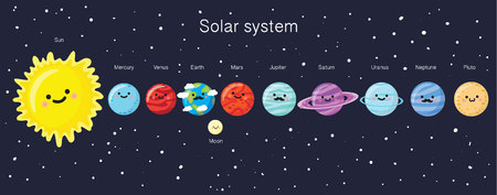 Solar system with cute smiling planets, sun and moon. Vector illustration Illustration