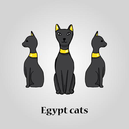 cat goddess: Three egypt black cats. Vector illustration