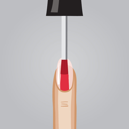 sophistication: Vector illustration of painting nails in red color Illustration