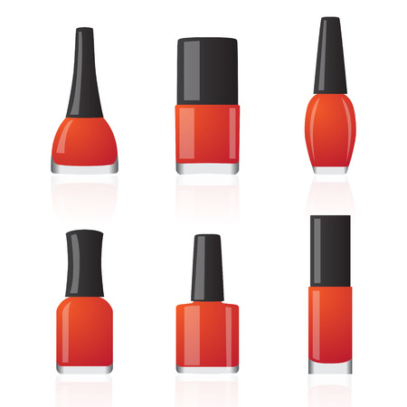 smoothness: Set of different shapes bottles with mailpolish. Vector illustration Illustration