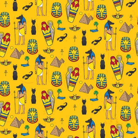 oracle: Seamless pattern with egyptean elements such as anubis, mummy, pyramids, scarabs, etc. Vector illustration
