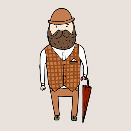 derby hat: Illustration of isolated cute bearded gentleman. Vector illustration