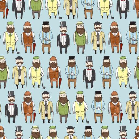 hombre con sombrero: Modelo inconsútil con los señores barbudos lindos. ilustración vectorial