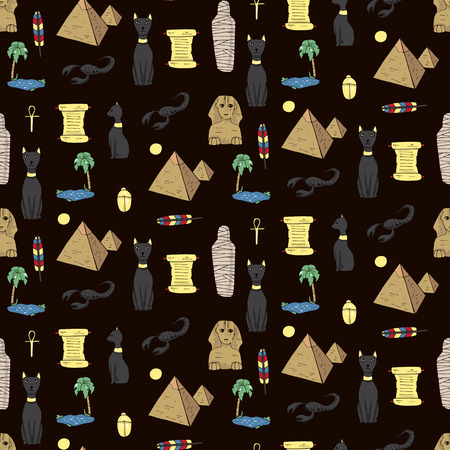 yesteryear: Seamless pattern with egyptean elements such as cats, sphinx, mummy, pyramids, scarabs, etc. Vector illustration Illustration