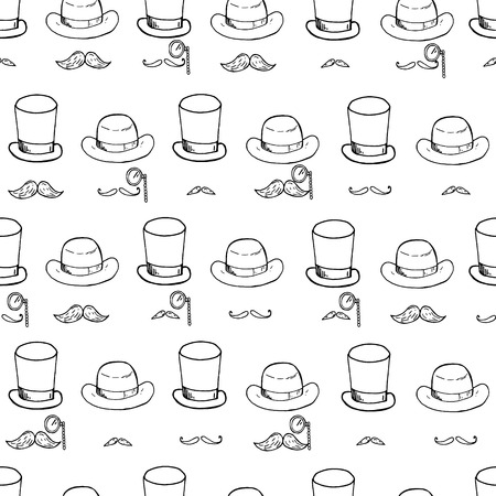 derby hats: Seamless pattern with gentlemen elements, hats and mustache. Vector illustration