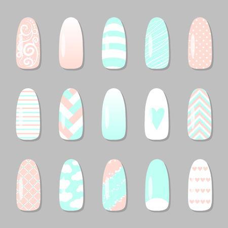 Zestaw różnych pictires paznokci. ilustracji wektorowych