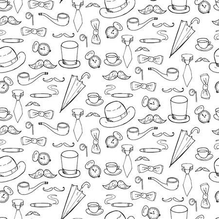 quizzing: Seamless pattern with gentlemen elements, hats and mustache. Vector illustration