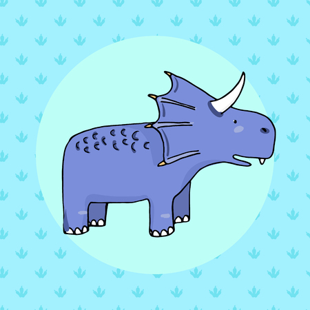 outmoded: Cute dinosaur in cartoon style with footprint on background. Vector illustration