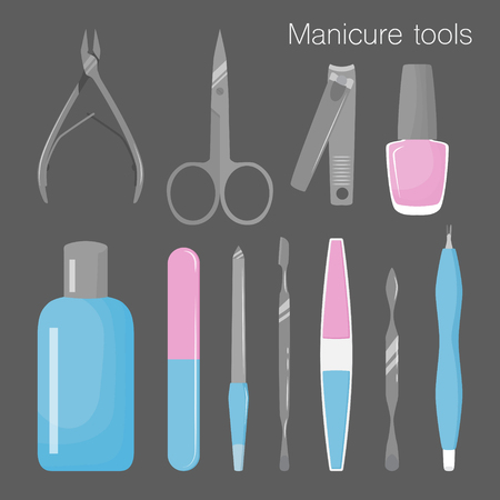cleanser: Set of tools for manicure. Vector illustration Illustration