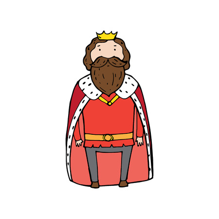 King with a crown in cartoon style. Vector illustration