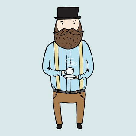 nobleman: Illustration of isolated cute bearded gentleman. Vector illustration