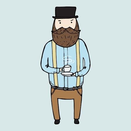 Ilustracja pojedyncze słodkie brodatego pana. ilustracji wektorowych
