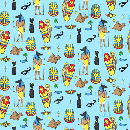 saintly: Seamless pattern with egyptean elements such as anubis, mummy, pyramids, scarabs, etc. Vector illustration