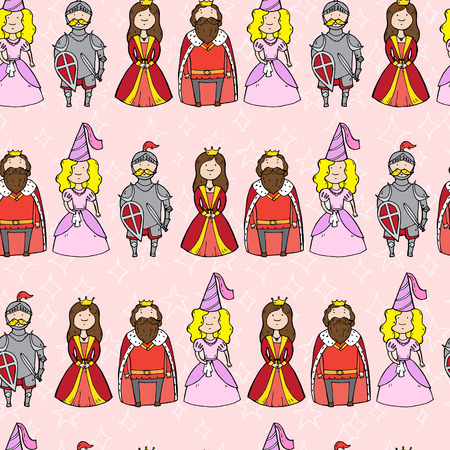 baron: Seamless pattern with princess, queen, king and knight. Vector illustration Illustration