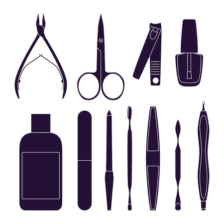 chiropody: Set of tools for manicure. Vector illustration Illustration