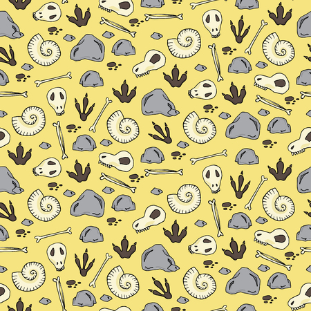annals: Seamless pattern with archaeological excavations in cartoon style. Vector illustration Illustration