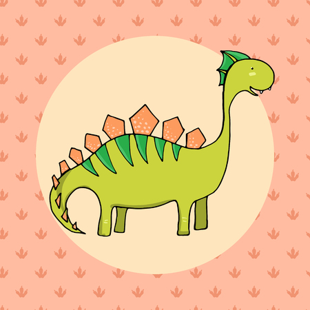 primordial: Cute dinosaur in cartoon style with footprint on background. Vector illustration